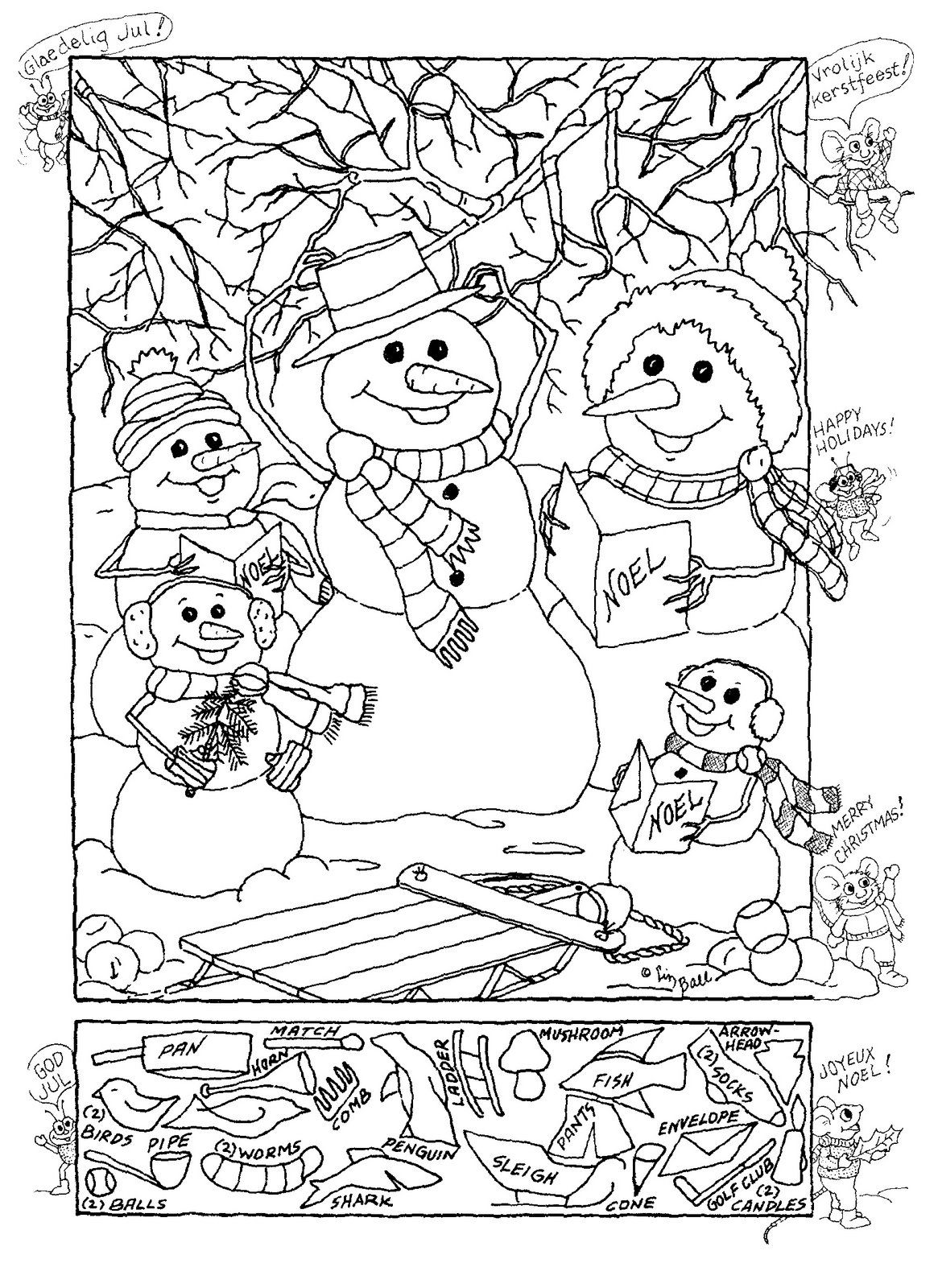 Christmas Colouring Pages And Puzzles With Hidden Picture Logic Pinterest