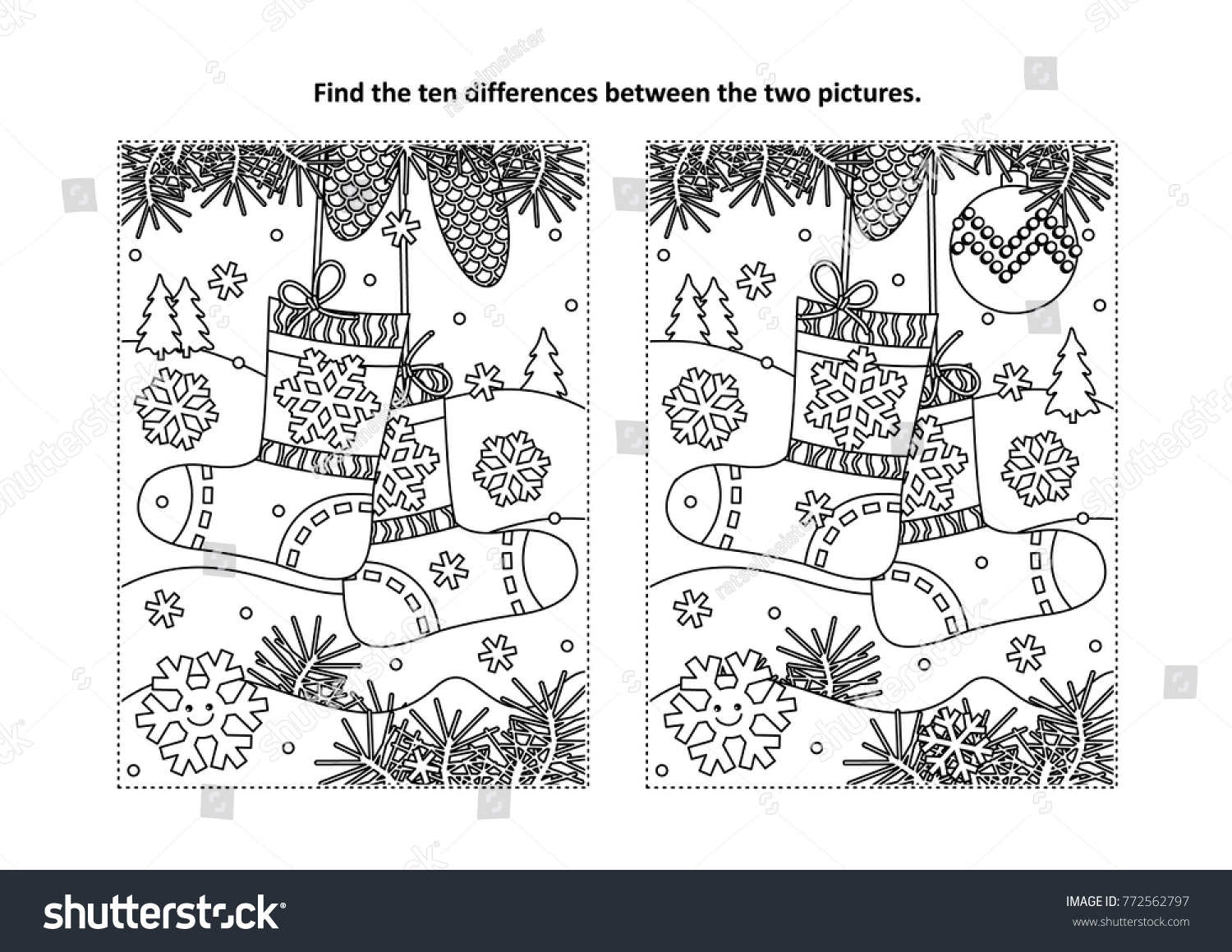 Christmas Colouring Pages And Puzzles With Winter New Year Themed Find Stock Vector Royalty Free