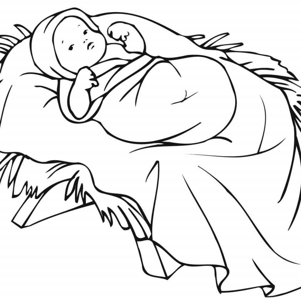 Christmas Colouring Pages Baby Jesus With In A Manger Coloring Page Free Printable