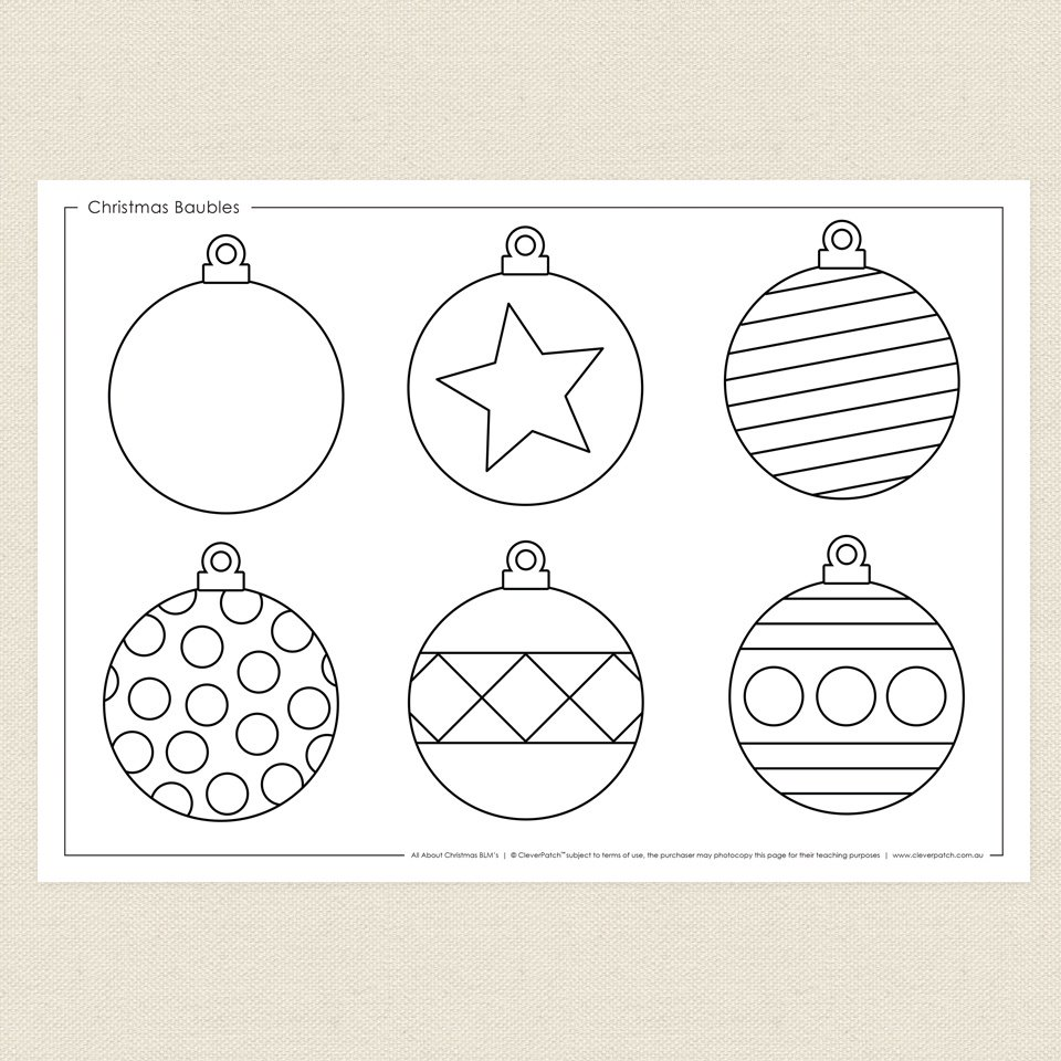 Christmas Colouring Pages Baubles With Bauble Coloring
