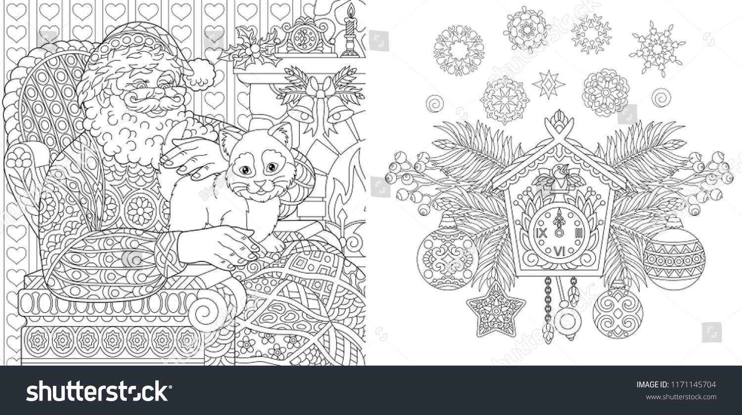 Christmas Colouring Pages Baubles With Coloring Book Stock Vector