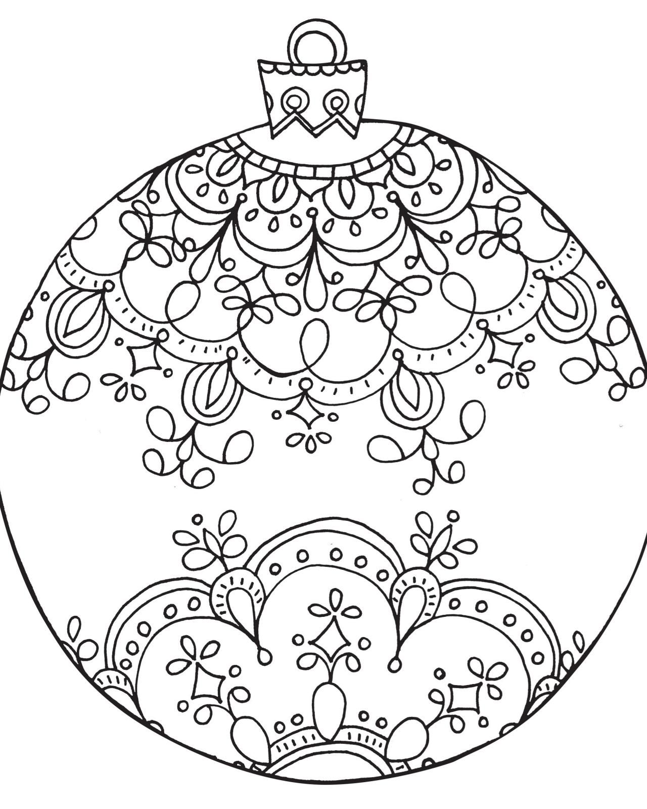 Christmas Colouring Pages Baubles With Free Printable Coloring For Adults Mandala
