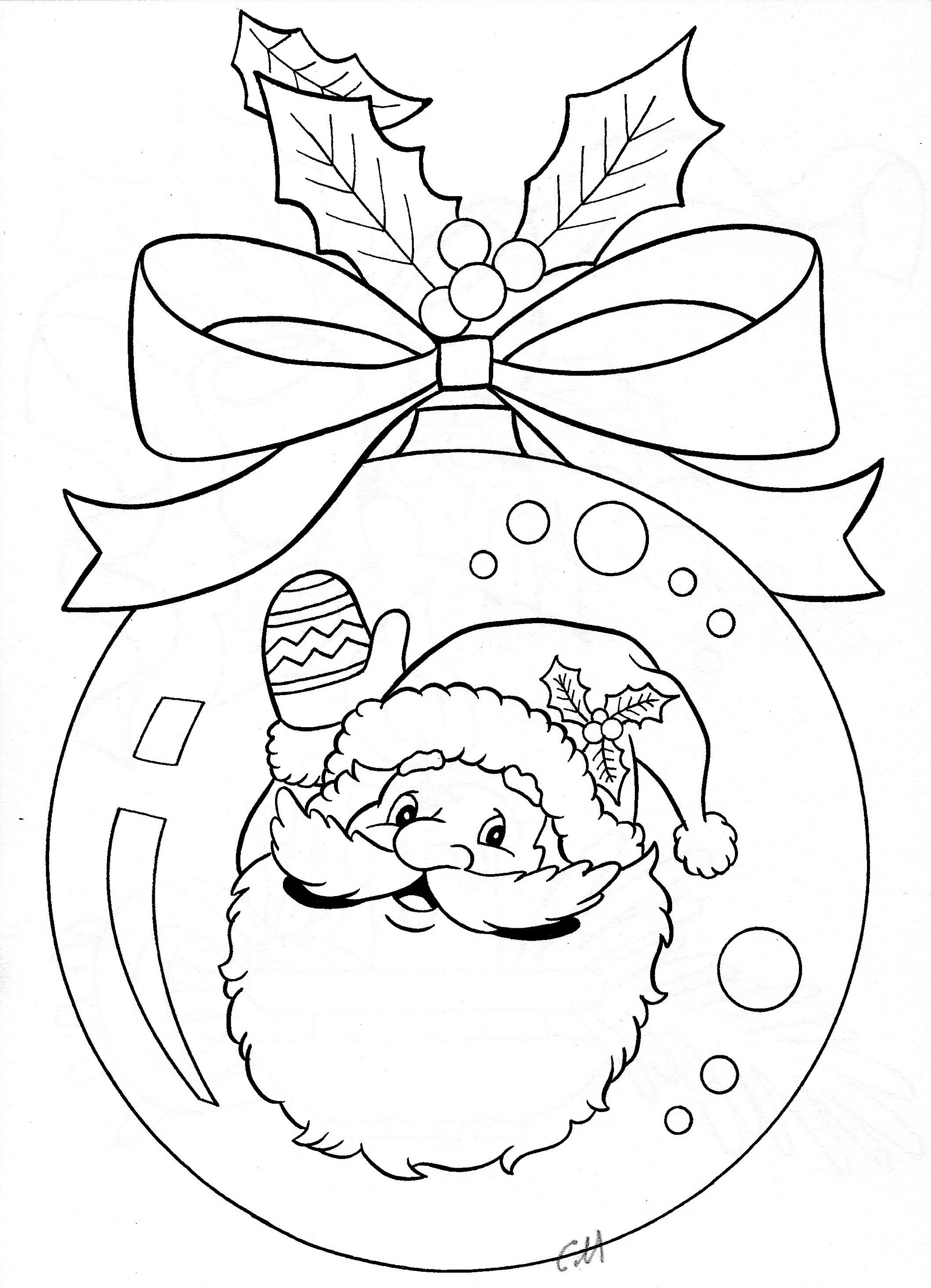 Christmas Colouring Pages Baubles With Santa Ornament Coloring Page Pinterest
