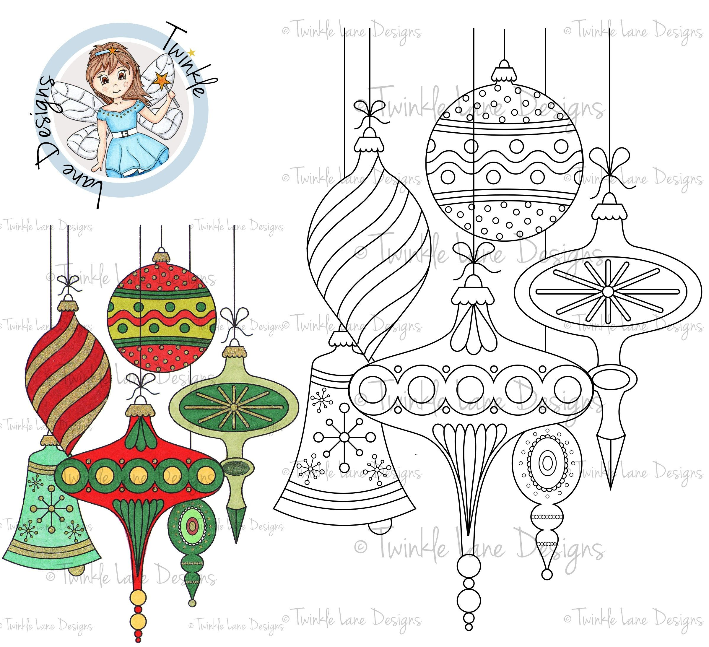Christmas Colouring Pages Baubles With Vintage Digi Stamp Digital Decorations