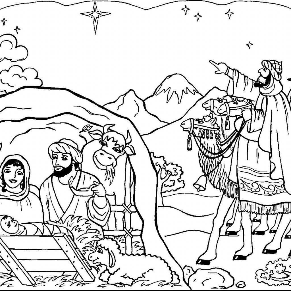 Christmas Colouring Pages Bible With Christian Printable Coloring Page For Kids