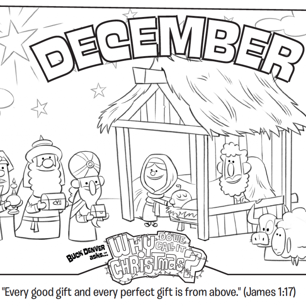 Christmas Colouring Pages Bible With December Coloring Page James 1 17 Whats In The