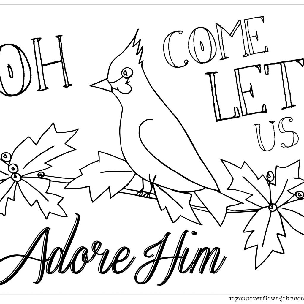 Christmas Colouring Pages Bible With Oh Come Let Us Adore Him Cardinal Coloring Page