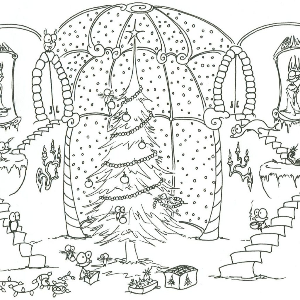 Christmas Colouring Pages Decorations With Coloring Monkeys Decorating A Tree Help From
