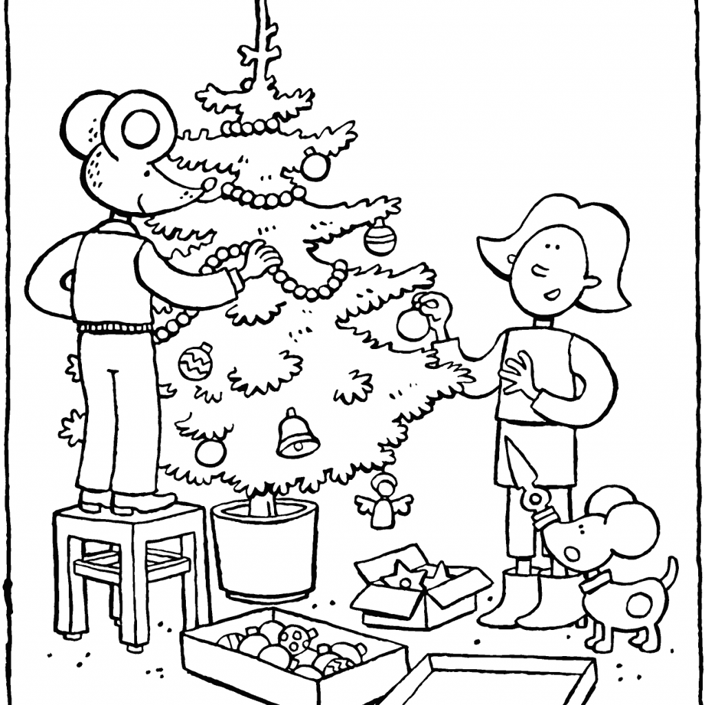 Christmas Colouring Pages Decorations With Emma And Thomas Decorate The Tree Kiddicolour
