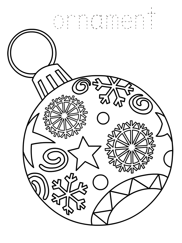 Christmas Colouring Pages Decorations With Ornament Coloring Best For Kids
