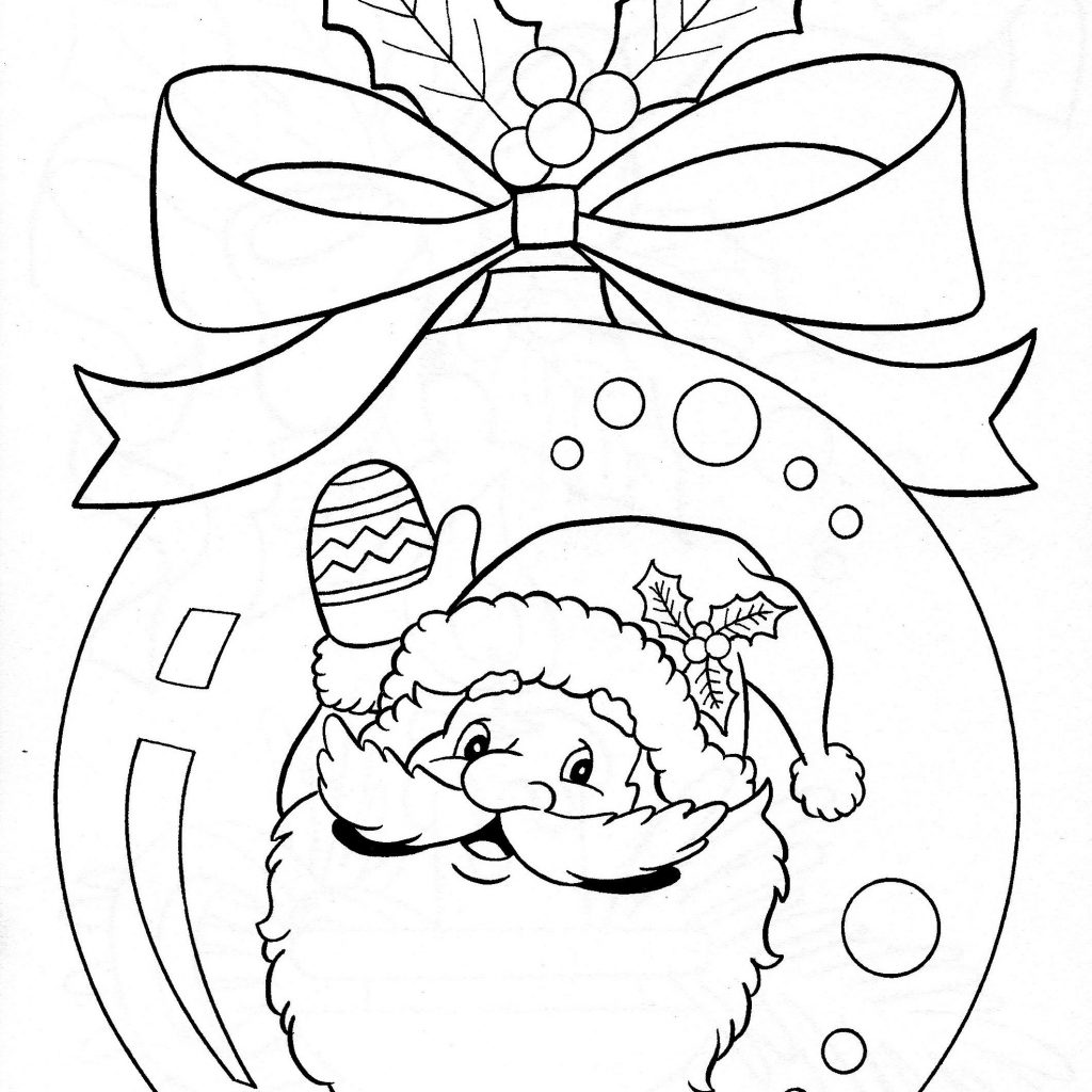 Christmas Colouring Pages Decorations With Santa Ornament Coloring Page Pinterest