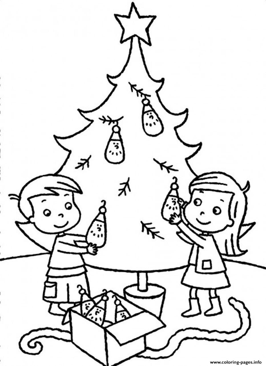 Christmas Colouring Pages Decorations With Sibling Decorating Tree B198 Coloring Printable