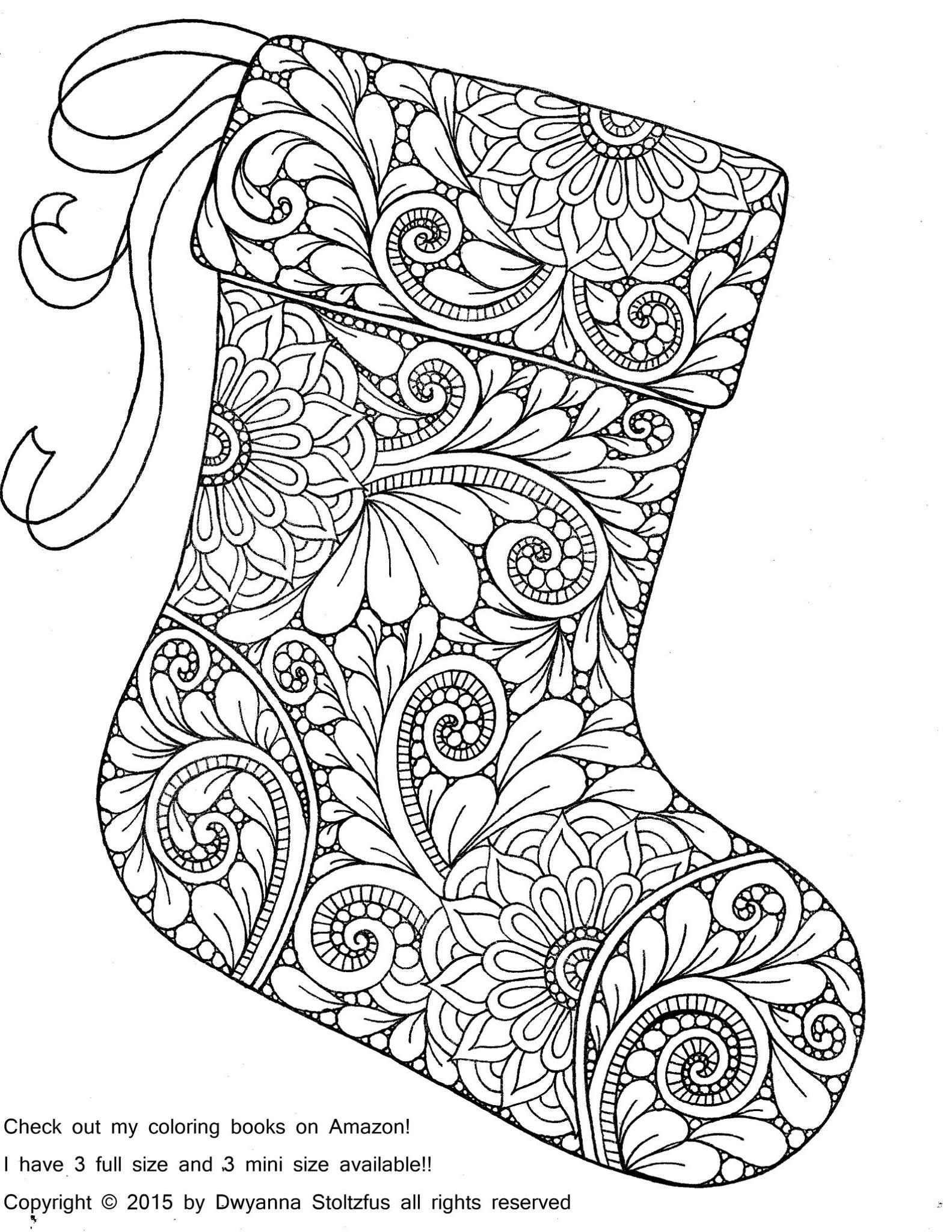 Christmas Colouring Pages Decorations With Stocking Coloring Page Pinterest