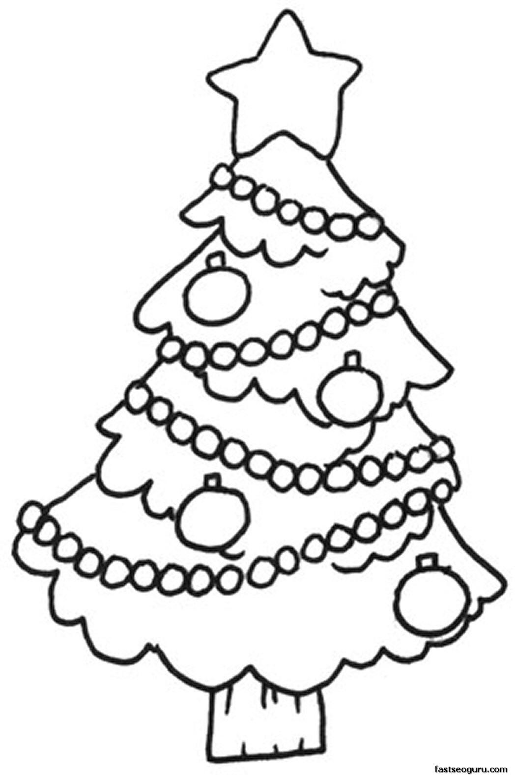 Christmas Colouring Pages Easy With Free Printable Pictures Of Trees Download Clip Art