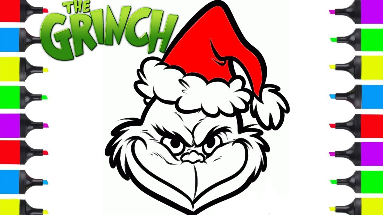 Christmas Colouring Pages Easy With How To Draw Grinch Coloring For Kids Cartoon