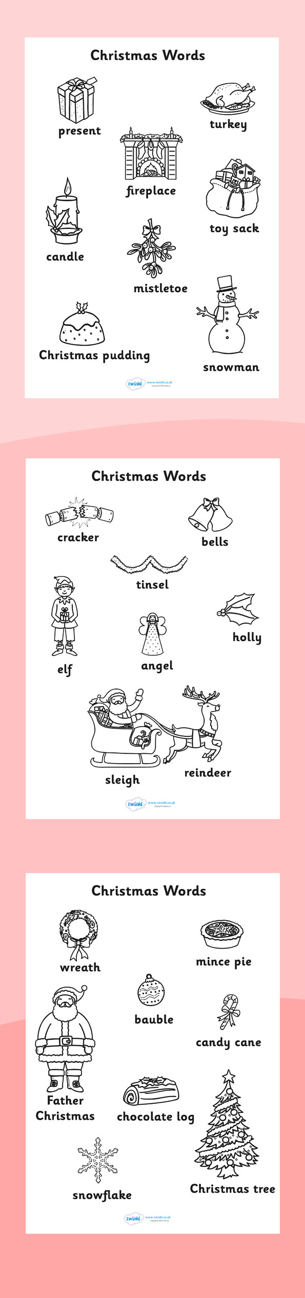 Christmas Colouring Pages Eyfs With Twinkl Resources Words Sheets Printable