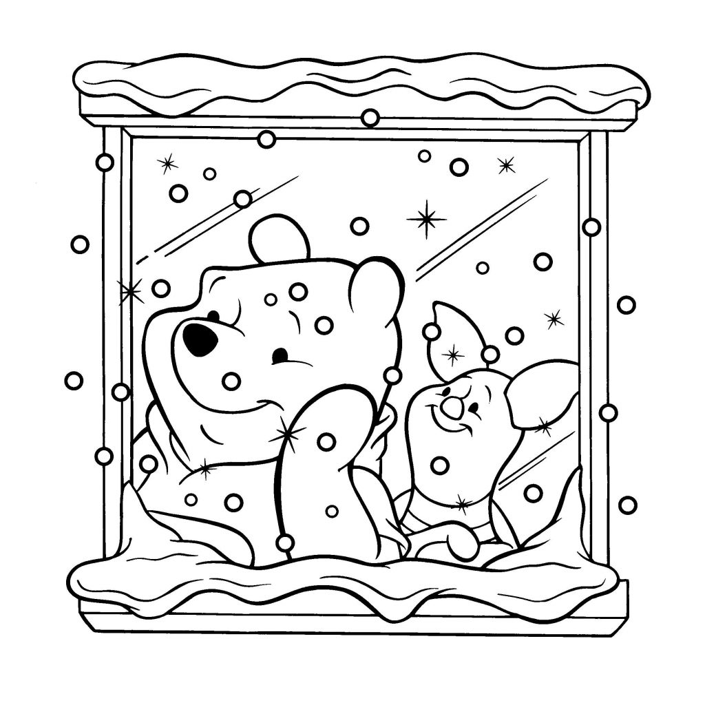 Christmas Colouring Pages For Babies With Baby Winnie The Pooh And Friends Coloring Bear