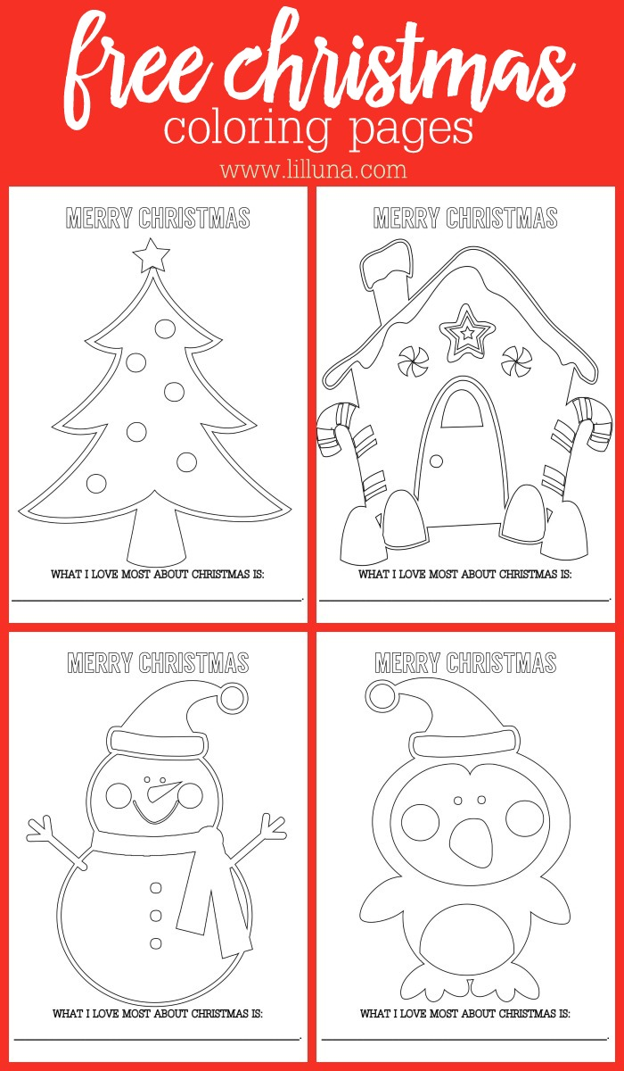 Christmas Colouring Pages For Free With FREE Coloring Sheets Lil Luna