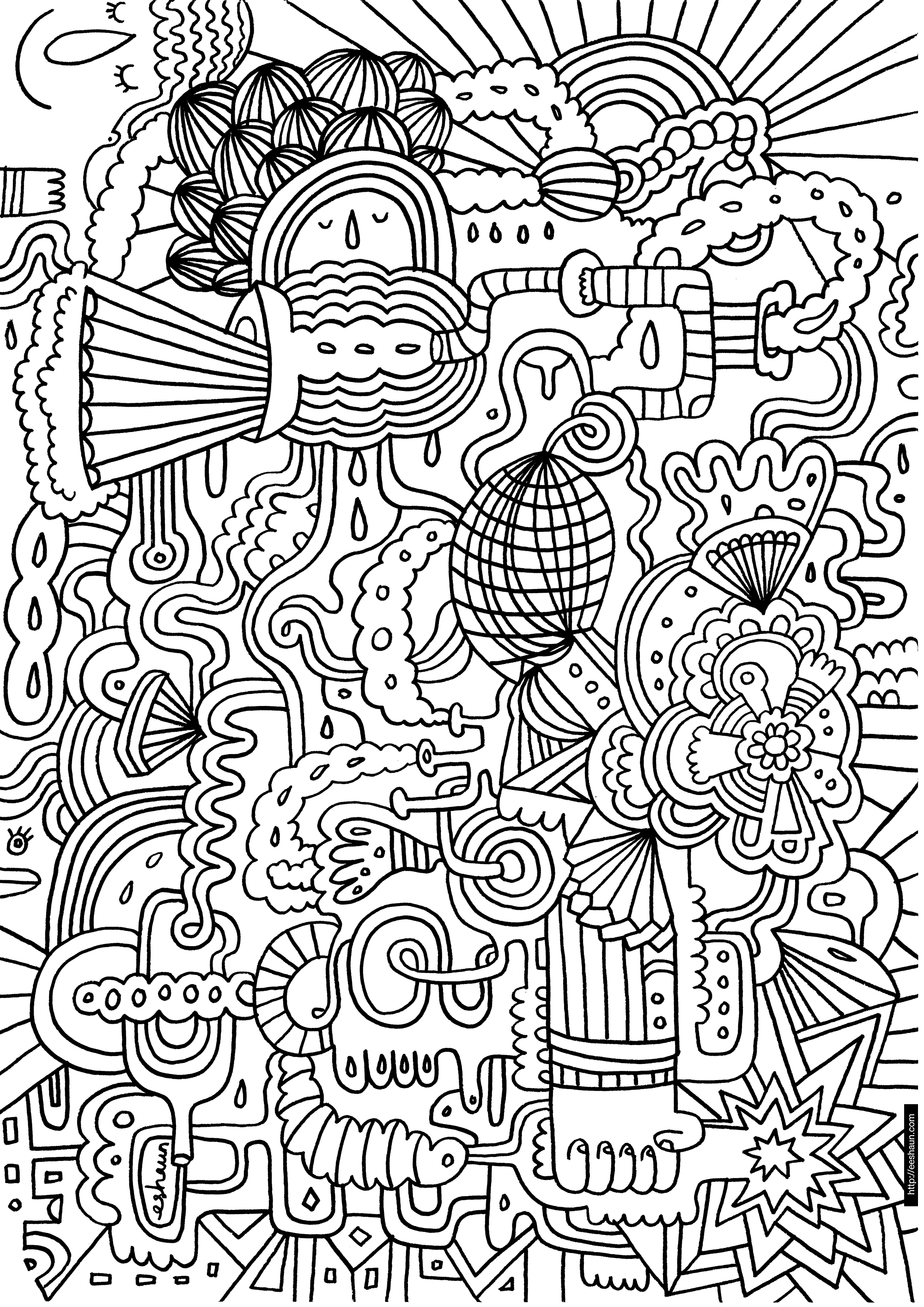 Christmas Colouring Pages Hard With Coloring Dr Odd
