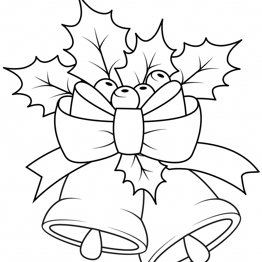 Christmas Colouring Pages Holly With Bells And Coloring Page Free Printable