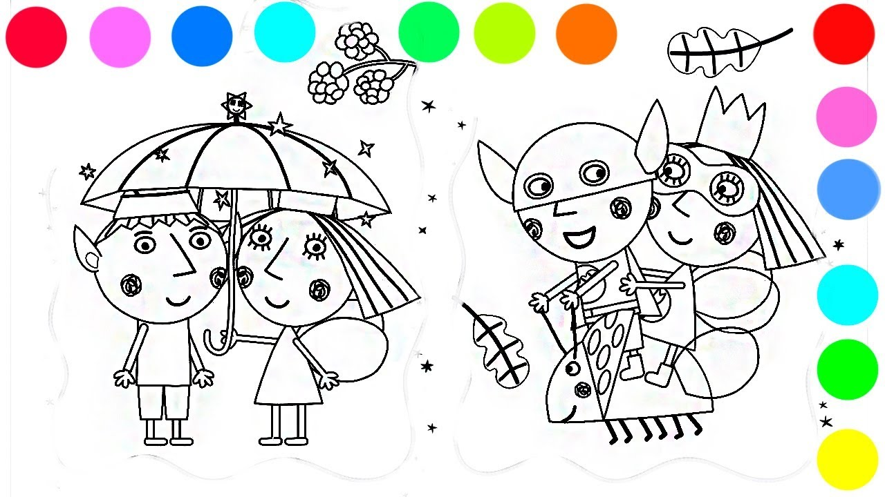 Christmas Colouring Pages Holly With Ben And S Little Kingdom Coloring Book Videos For Kids