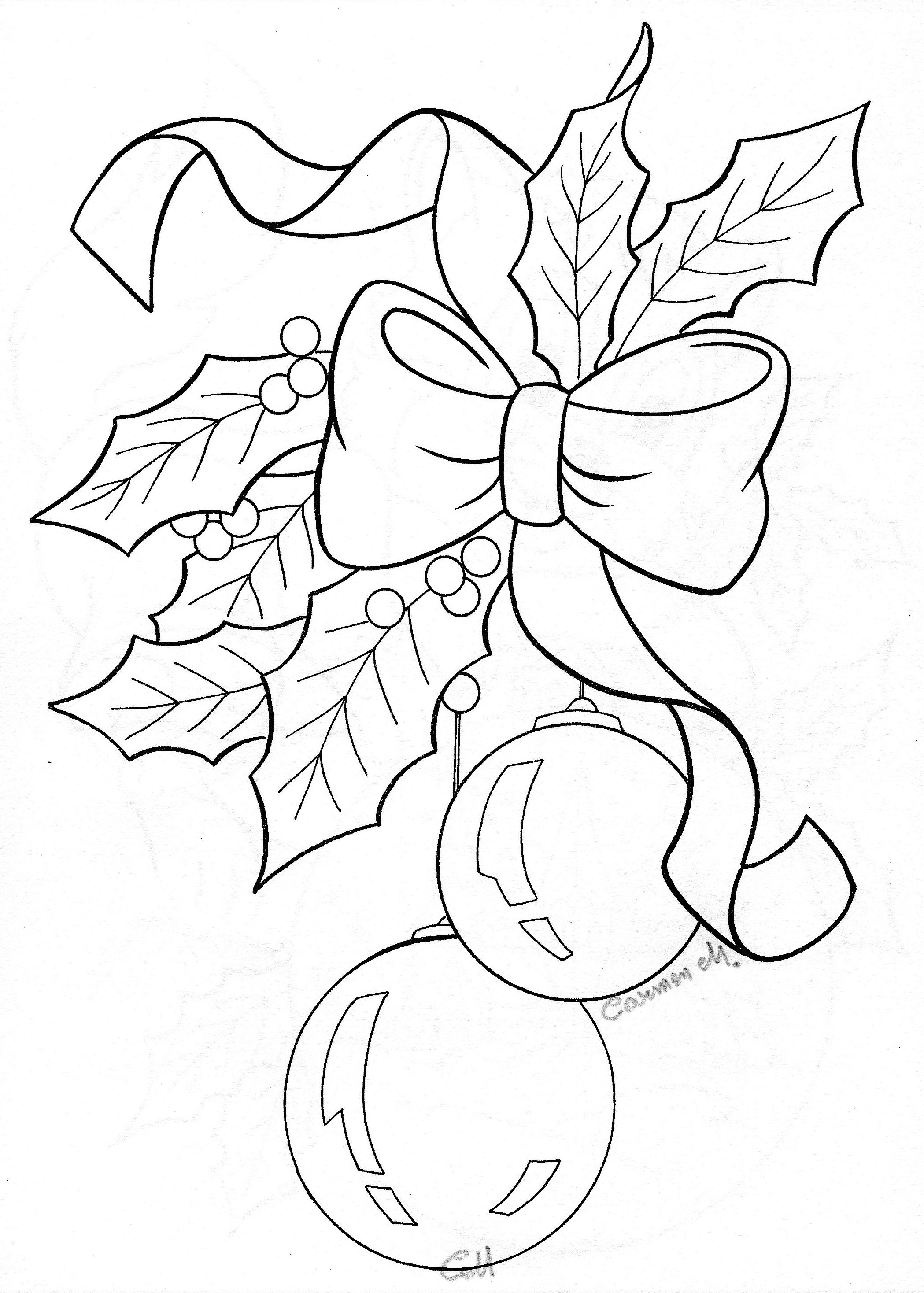 Christmas Colouring Pages Holly With Bow Ornaments Sketch Adult Coloring Pictures Pinterest