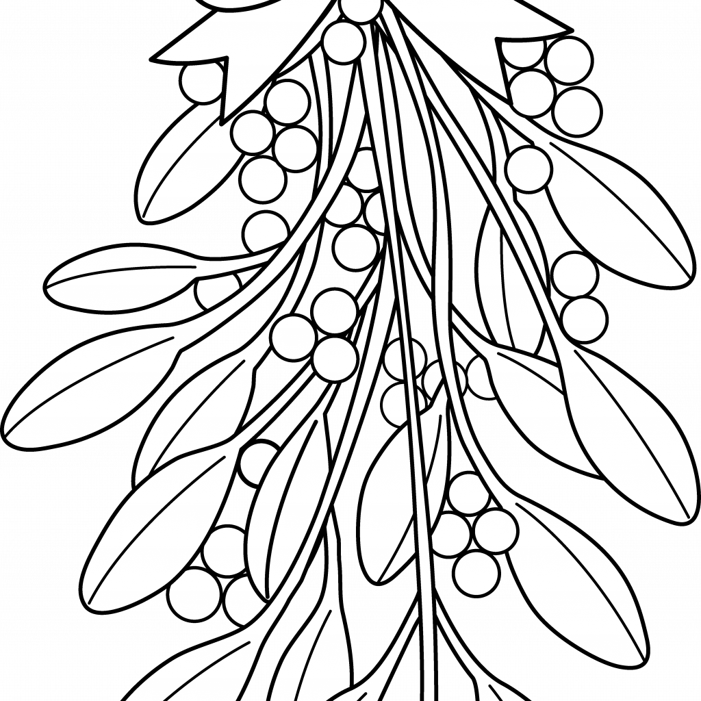 Christmas Colouring Pages Holly With Coloring Mistletoe Clipart Black And White Adult