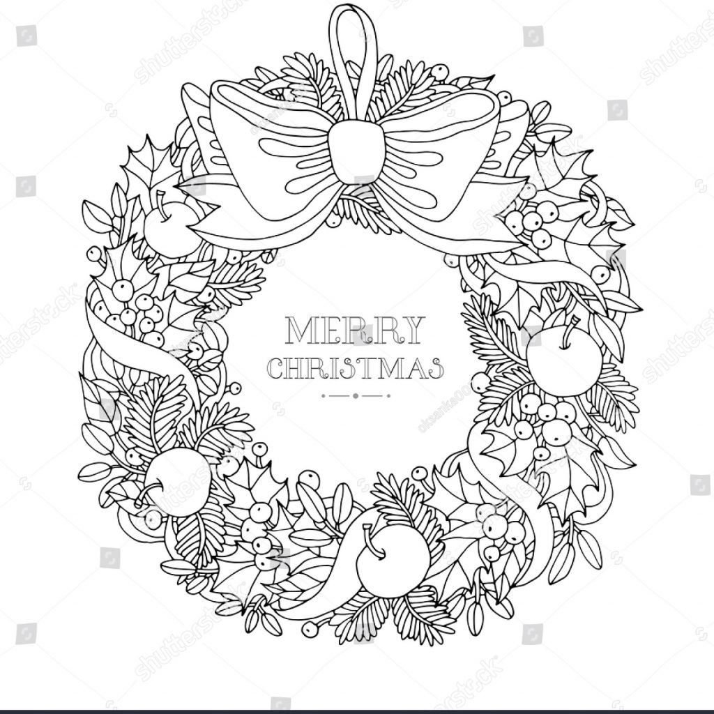 christmas-colouring-pages-holly-with-wreath-bow-ribbon-forest-stock-vector-353096384