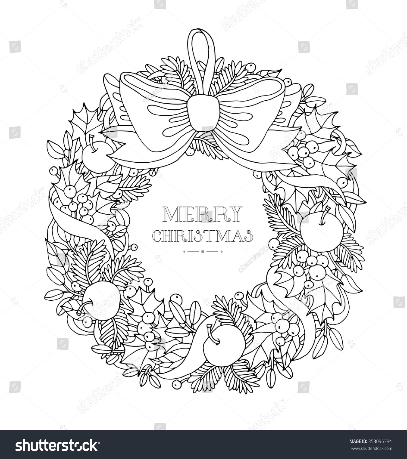Christmas Colouring Pages Holly With Wreath Bow Ribbon Forest Stock Vector 353096384