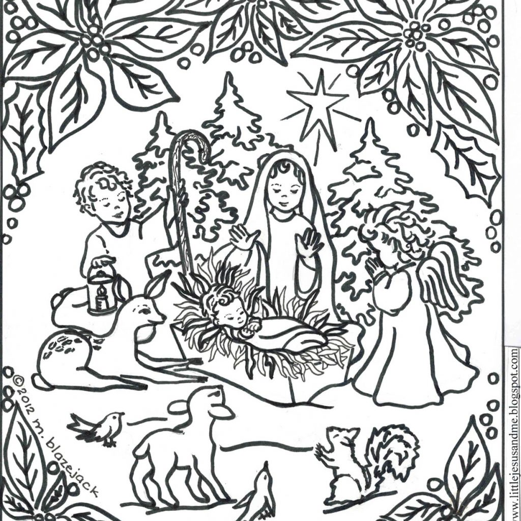 Christmas Colouring Pages Jesus With Christ Coloring Religious Stunning Free