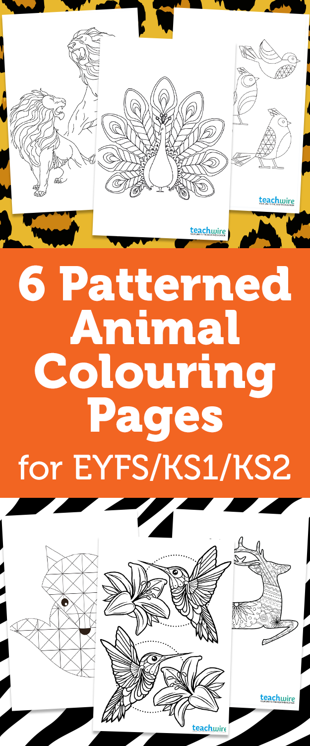 Christmas Colouring Pages Ks1 With 6 Patterned Animal Early Years Foundation Stage