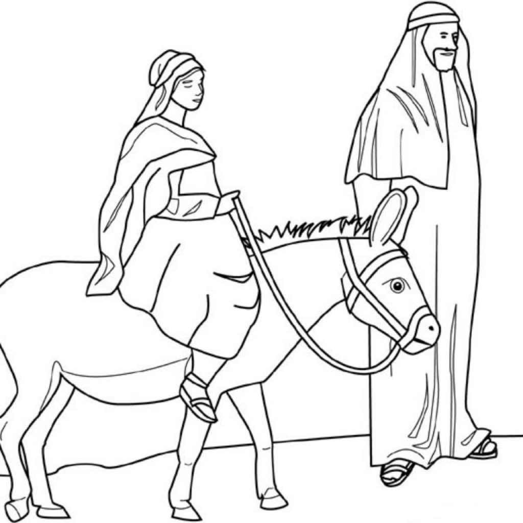 Christmas Colouring Pages Mary And Joseph With Coloring Sheet For The Image Of Pregnant On A Donkey