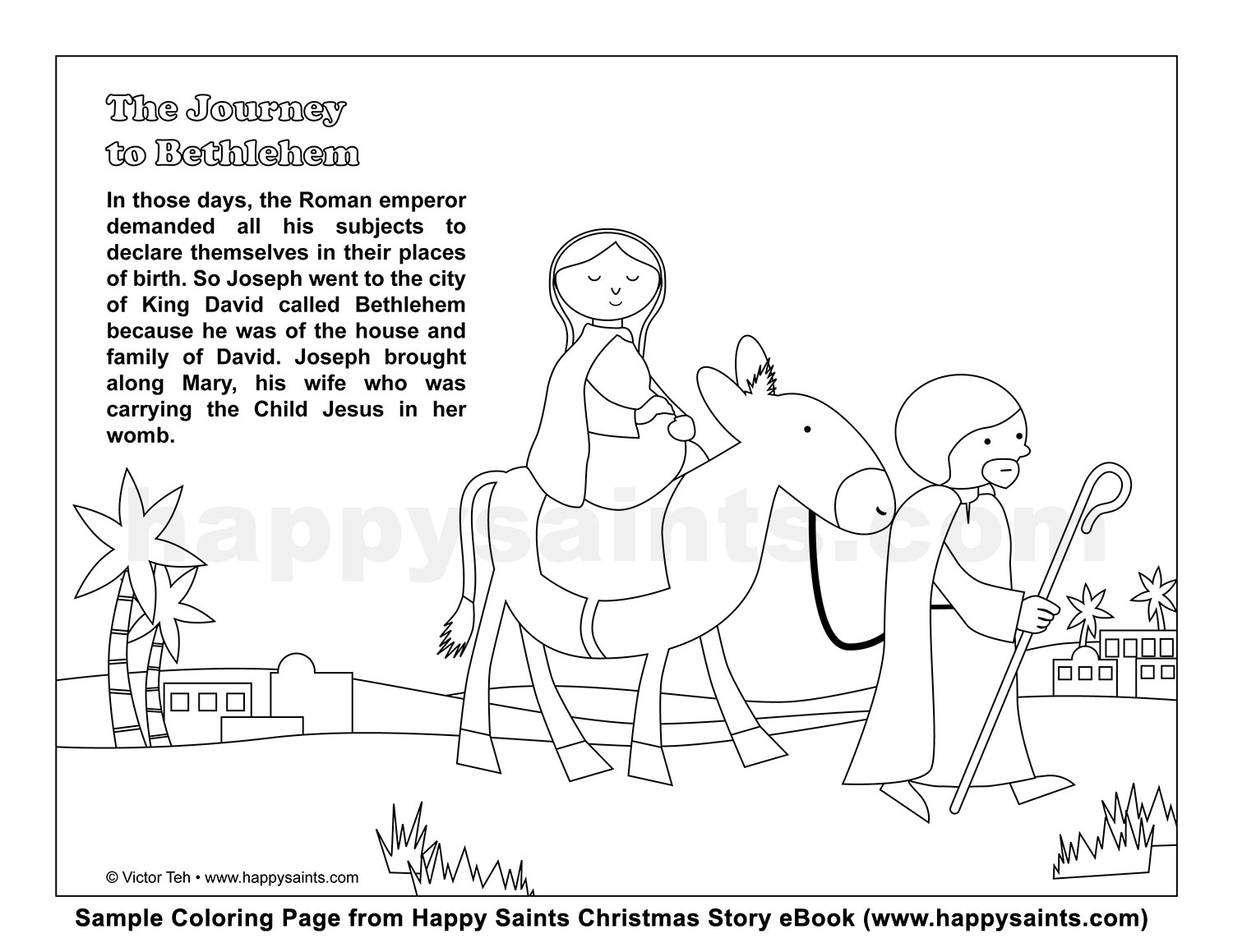 Christmas Colouring Pages Mary And Joseph With Happy Saints Journey To Bethlehem Coloring Page