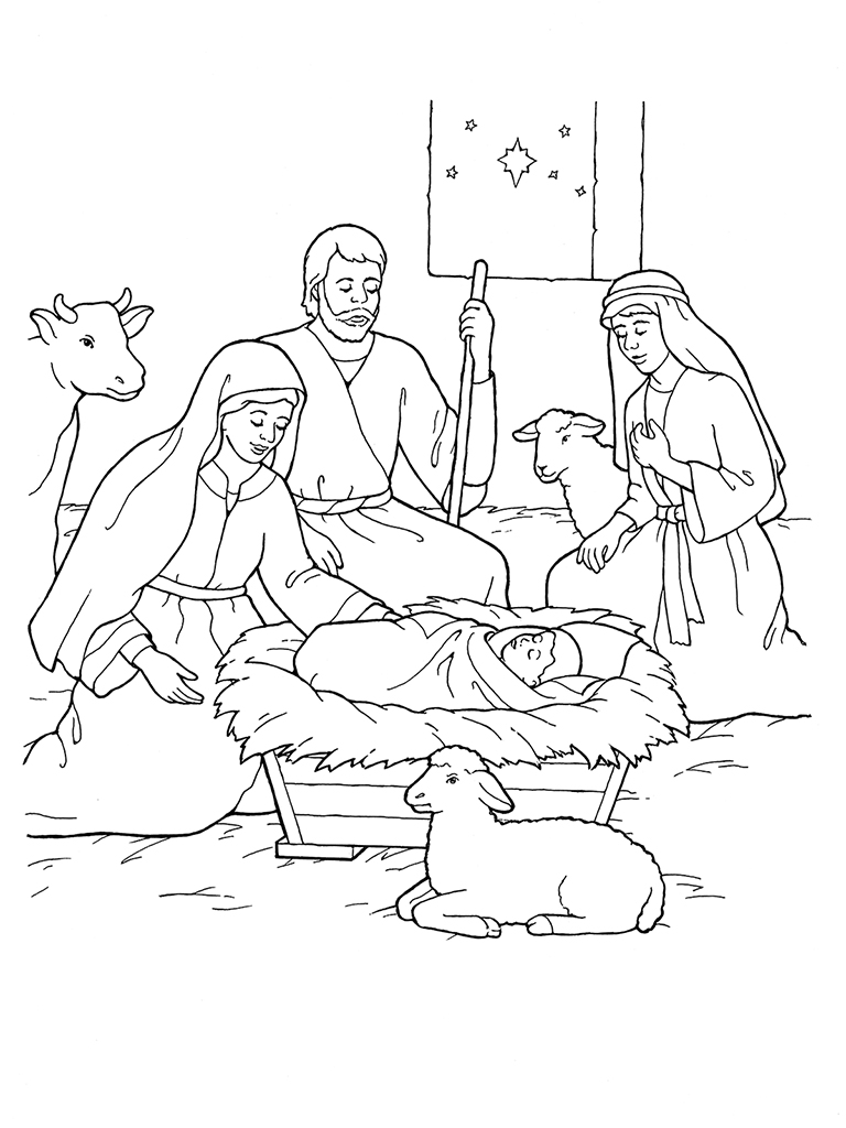 Christmas Colouring Pages Mary And Joseph With Nativity Jesus The Shepherds