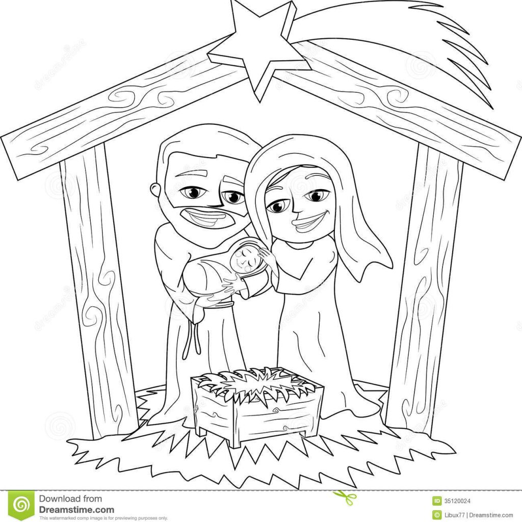 Christmas Colouring Pages Mary And Joseph With Nativity Scene Coloring Page Stock Vector Illustration