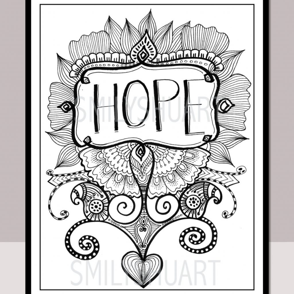 Christmas Colouring Pages Mindfulness With HOPE Printable Motivational Quotes Etsy