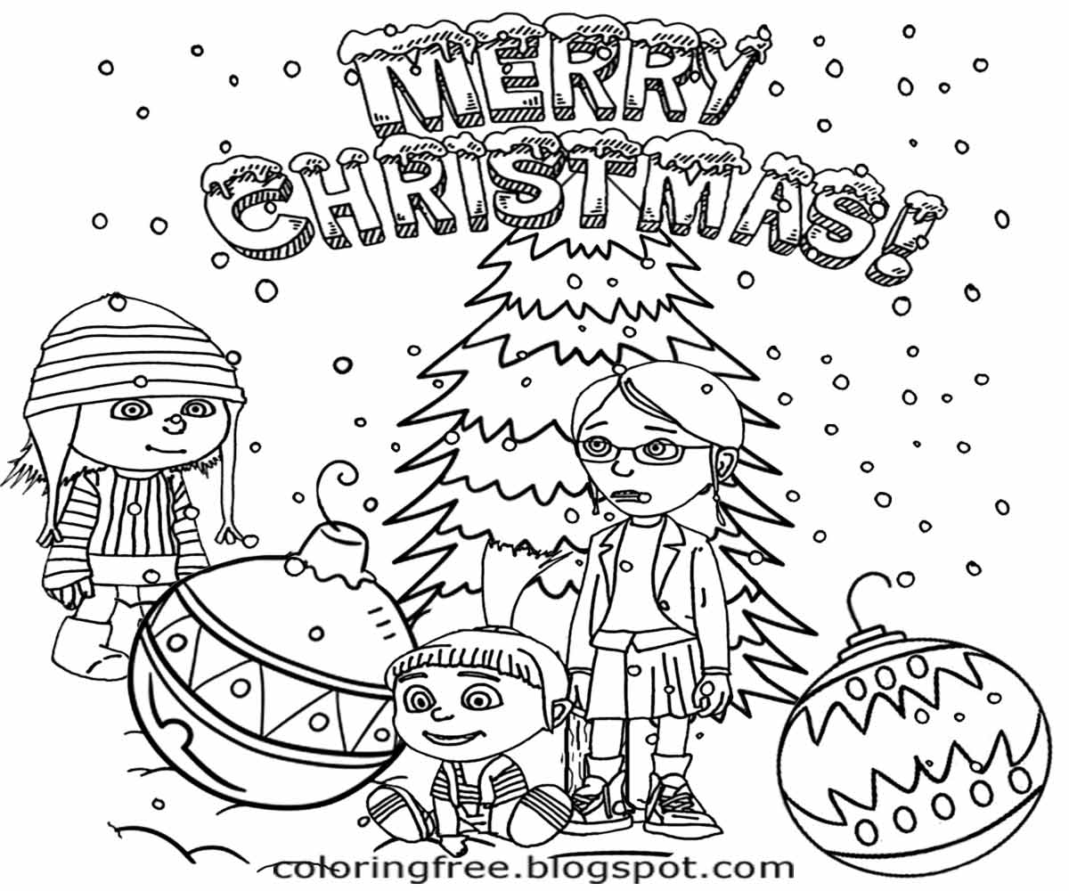 Christmas Colouring Pages Minions With Minion Coloring