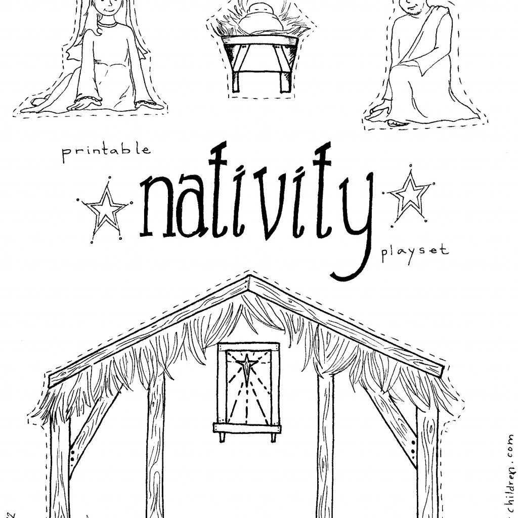 Christmas Colouring Pages Nativity With Spanish Color Printable Coloring Stable Page Nazly Me