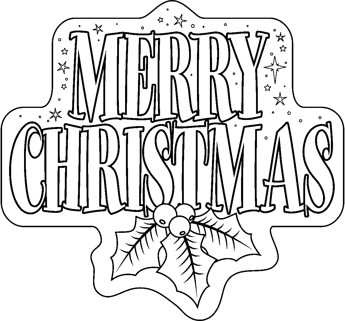 Christmas Colouring Pages To Print With Free Printable Merry Coloring