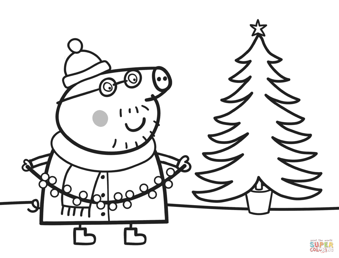 Christmas Colouring Pages Tree With Daddy Pig Decorates Xmas Super Coloring Peppa