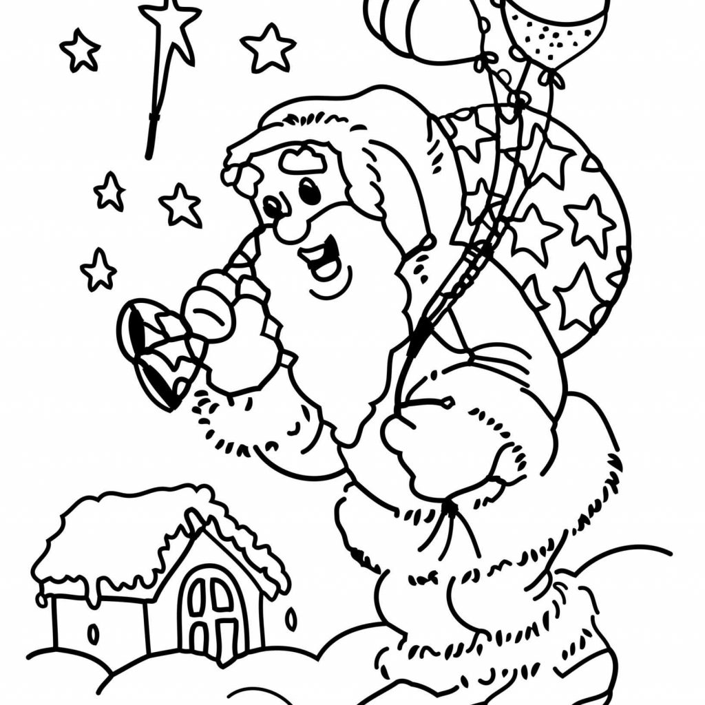 Christmas Colouring Pages Tree With Santa Claus Coloring