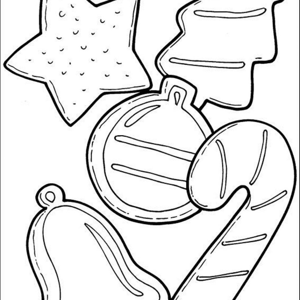 Christmas Cookie Coloring Pages With Cookies And Candy Cane For C4fa Printable
