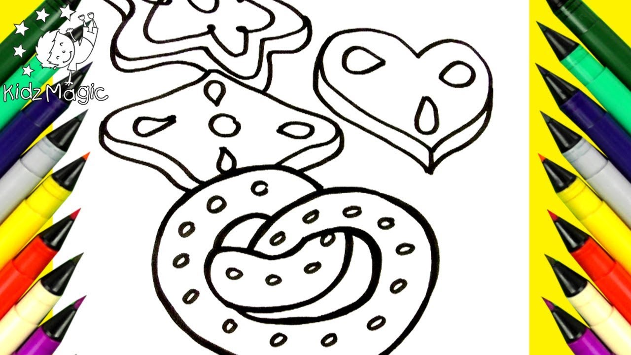 Christmas Cookie Coloring Pages With Draw And Color Cookies For Kids