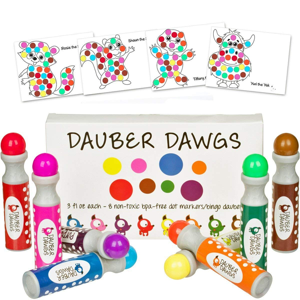 Christmas Dauber Coloring Pages With Amazon Com 8 Pack Washable Dot Markers Bingo Daubers Dabbers