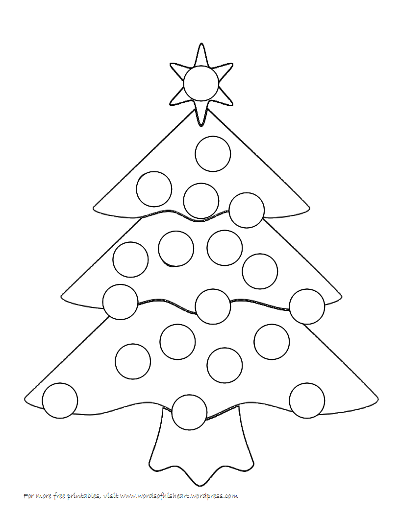 Christmas Dauber Coloring Pages With Tree Bingo Home