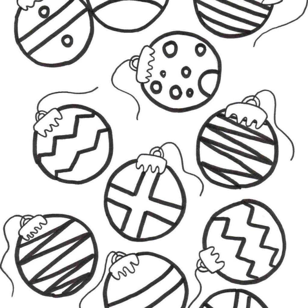 Christmas Decorations Coloring Pages With Black Beautiful