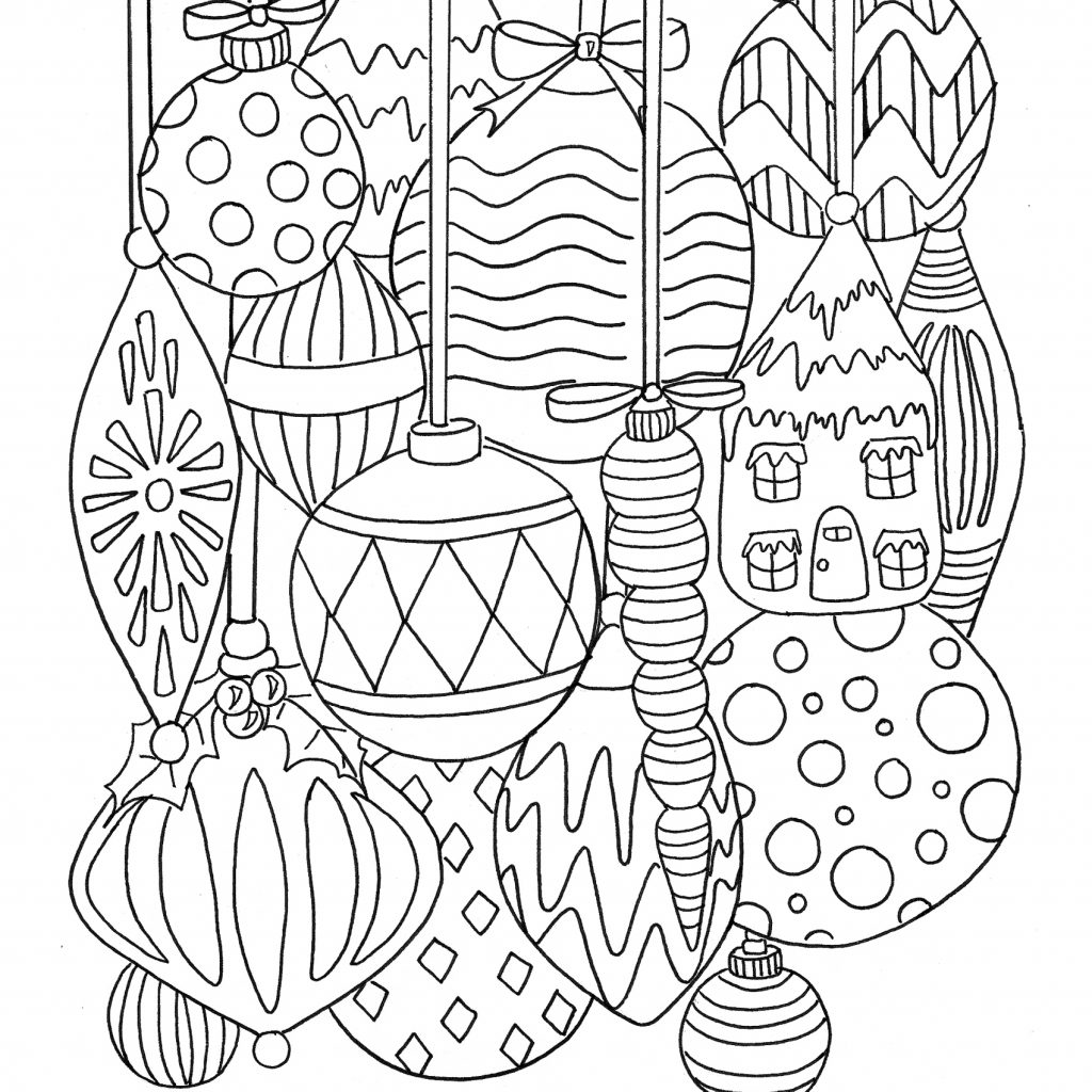 Christmas Decorations Coloring Pages With Free Ornament Page TGIF This Grandma Is Fun