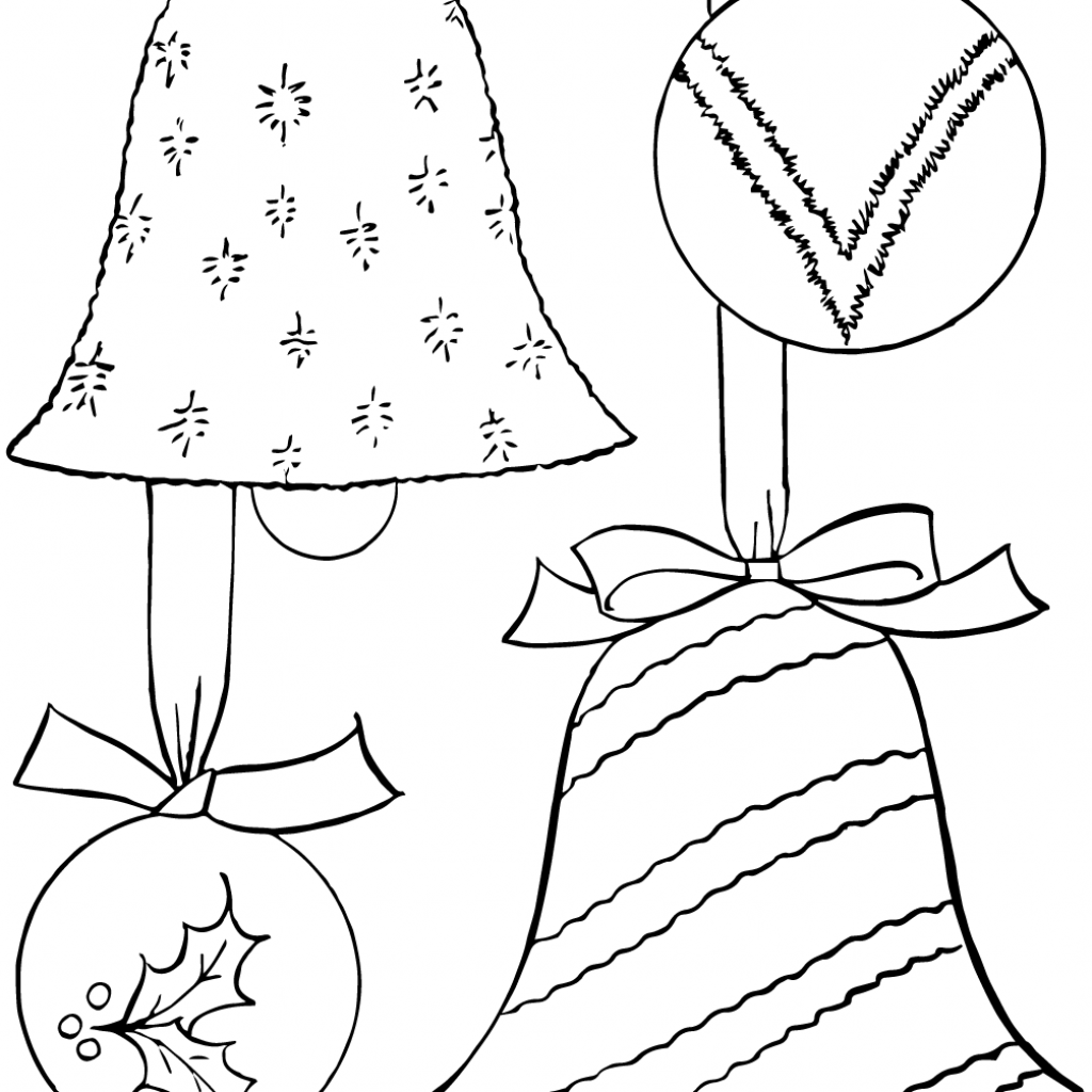 Christmas Decorations Coloring Pages With Ornaments Page Free Printable