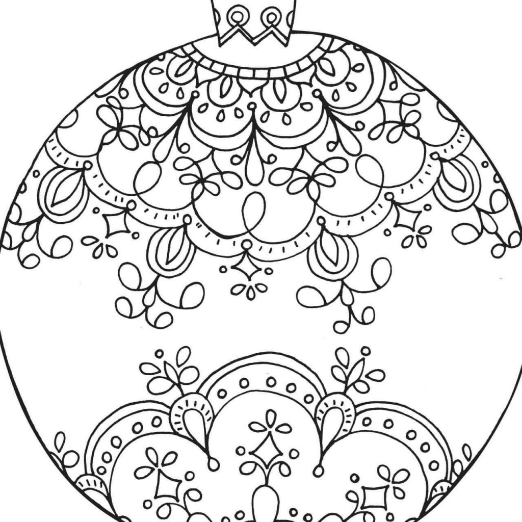 Christmas Decorations Coloring Pages With Page Vintage