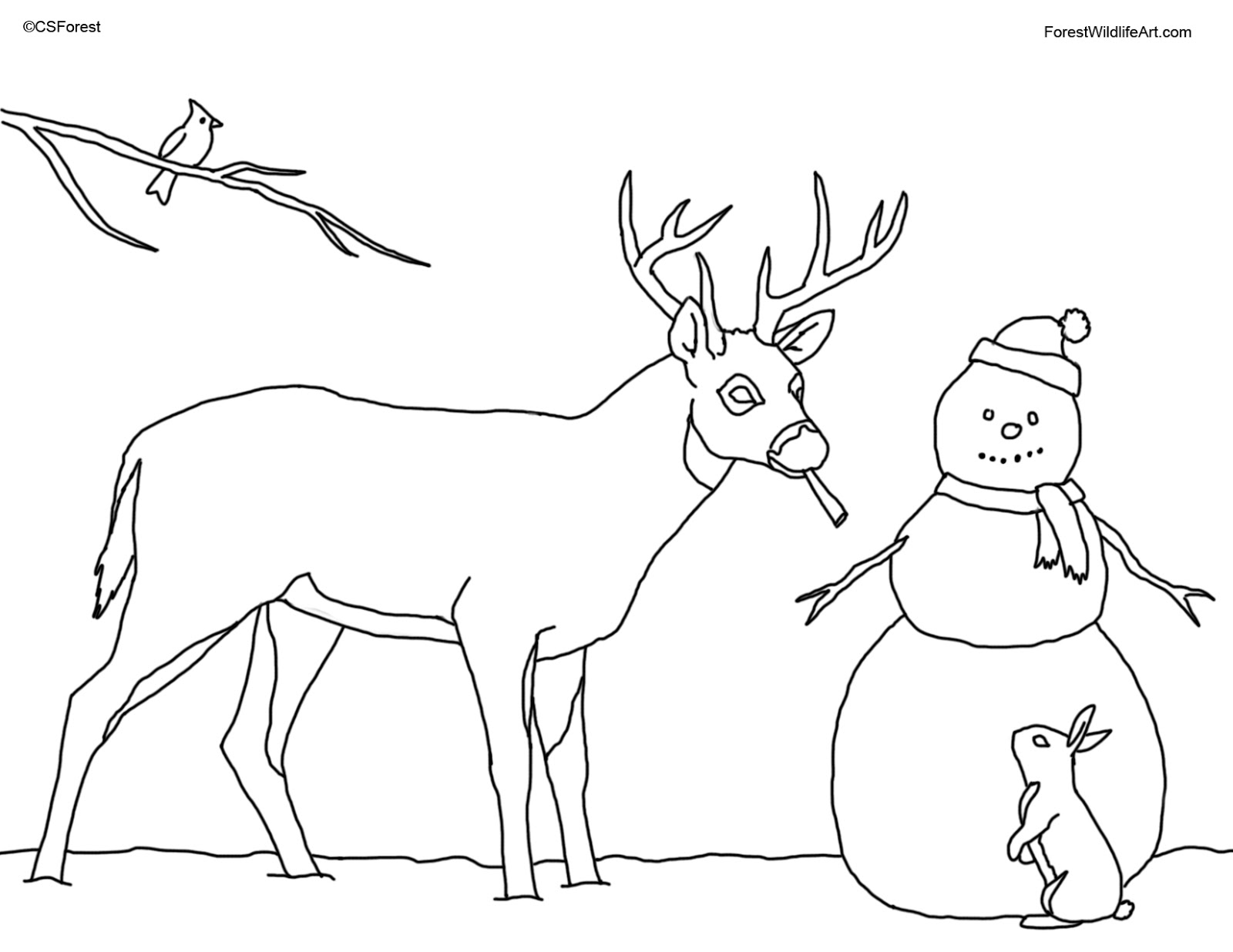Christmas Deer Coloring Pages With Crista Forest S Animals Art Book Page For Kids